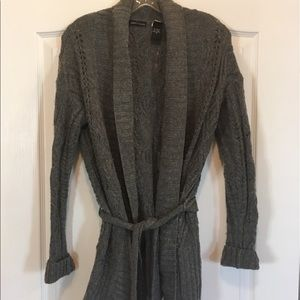 Women's gray cardigan sweater